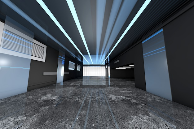 3d rendeu a ilustração de um interior industrial