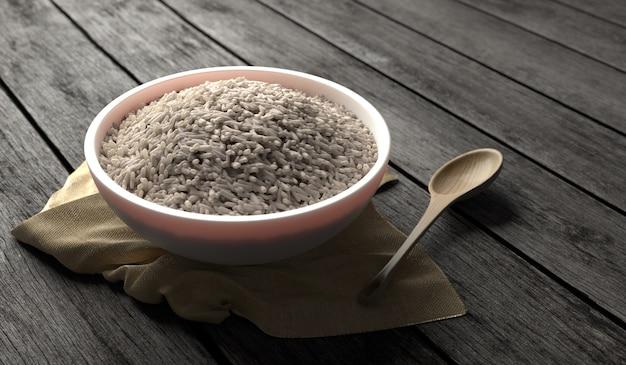 3d rendeu a ilustração do arroz basmati na bacia cerâmica branca na tabela de madeira velha com o guardanapo de madeira da colher e de serapilheira. efeito de iluminação e textura
