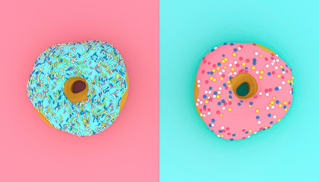 3d rendeu a imagem de filhóses na superfície cor-de-rosa e clara - azul