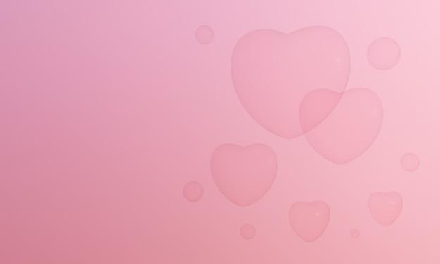 3d rendeu bolhas de coração rosa. valentine adorável.