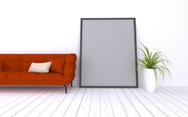 3d rendeu da sala de estar moderna interior com quadro de sofá vermelho realista