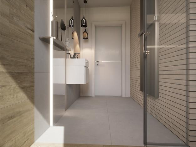 3d rendeu o banheiro decorado moderno