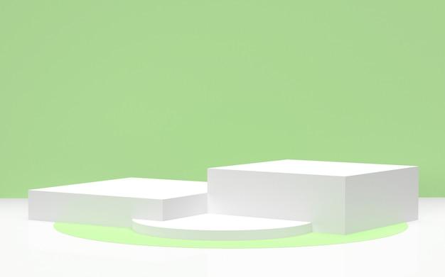 3d rendeu - o pódio branco com fundo verde para a exposição amigável dos produtos do eco