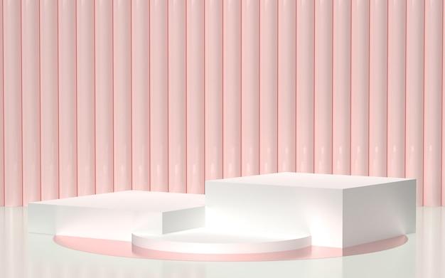 3d rendeu - o pódio branco com luz - fundo cor-de-rosa para a exposição dos produtos