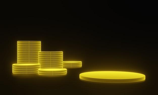 3d rendeu o suporte dourado e moedas em fundo preto.