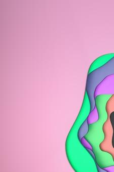 3d rendição, papel colorido abstrato cortam fundo colorido da arte.
