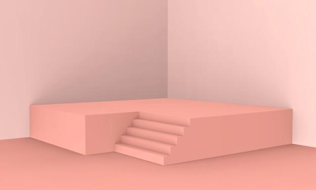 3d rendido - fundo cor-de-rosa da exposição do produto do pódio da cor do pêssego