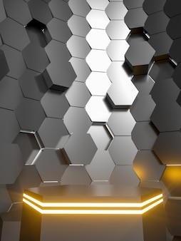 3d resumo neon podium para venda de produtos tecnologia sci fi