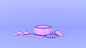 3D roxo e rosa instrumento conjunto Kid brinquedo, fundo roxo suave estilo mínimo