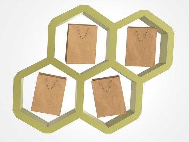 3d sacolas de papel em um favo de mel