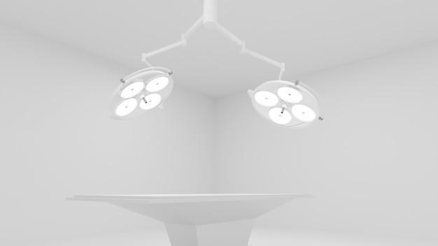 3d: sala de cirurgia com duas lâmpadas médicas iluminadas e cama vazia. renderização 3d.