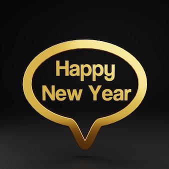 3d saudação de bate-papo com bolha dourada de ano novo
