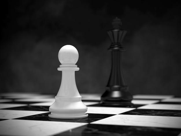 3d scene chess peão branco enfrentando rei no tabuleiro de xadrez