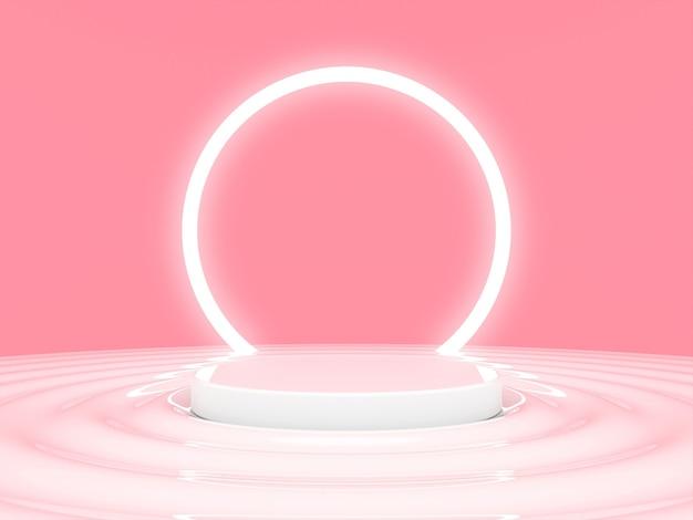 3d scene platform para o sucesso nas ondas há um círculo de néon no fundo 3d render