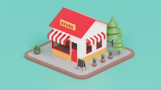 3d shope illustration renderização 3d