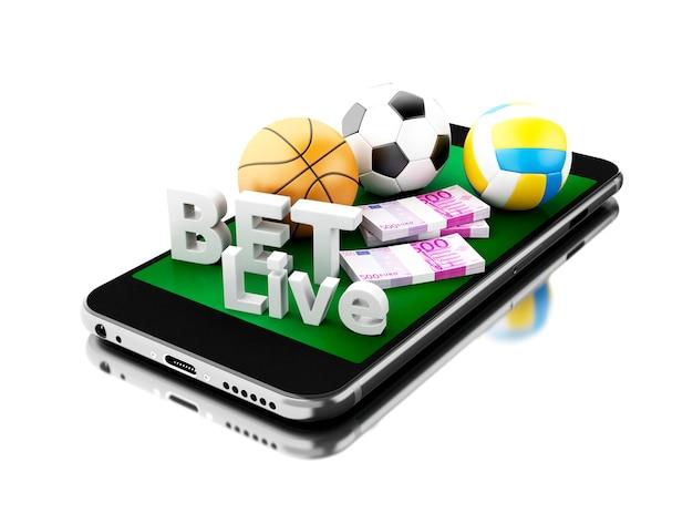 3d smartphone com bolas do esporte, dinheiro e aposta viva. conceito de apostas.