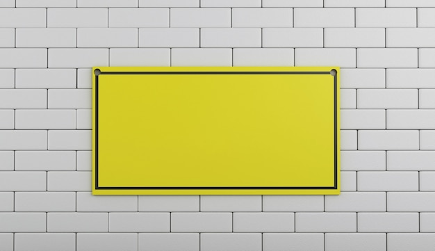 3d sob o sinal da construção na parede de tijolo.