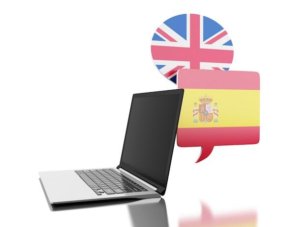 3d traduza espanhol e inglês com computador portátil.