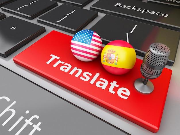 3d traduza espanhol e inglês no teclado do computador.