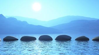 3D trampolins no oceano contra uma paisagem de montanha