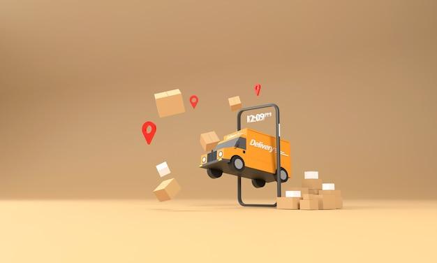 3d. um caminhão de entrega saindo de um telefone celular. pronto para enviar rápido compras, entrega, conveniência e transporte online.
