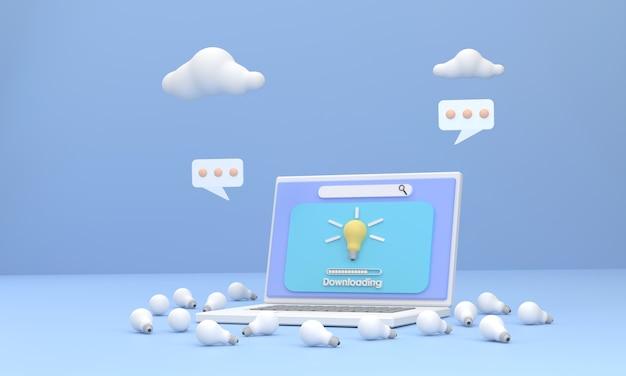 3d. um laptop baixando uma criatividade diferente dos outros com uma lâmpada como símbolo.