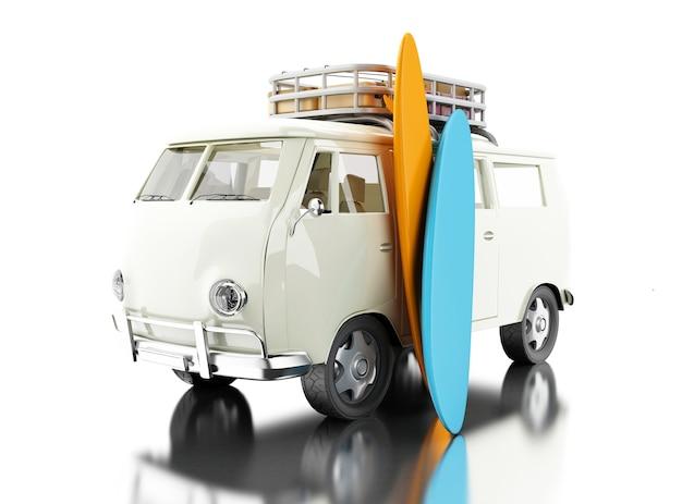 3d van de surf com pranchas coloridas