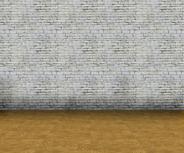 3d vazio interior com parede de tijolos e piso de madeira