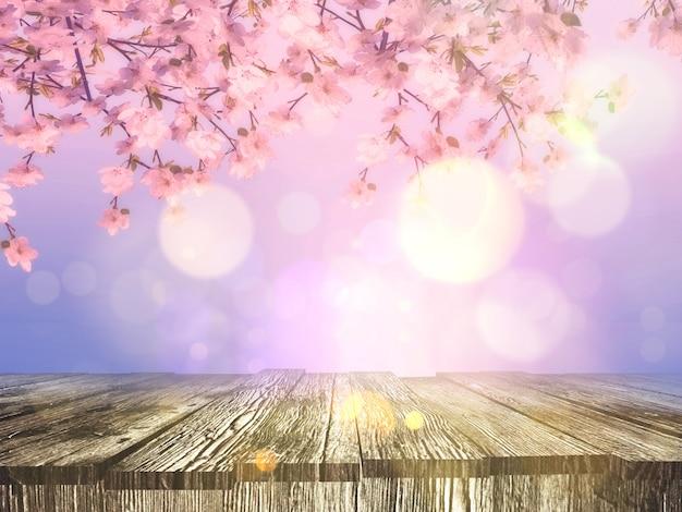 3d velha mesa de madeira com um fundo de flor de cerejeira