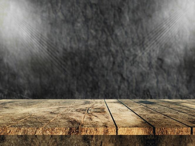 3d velha mesa de madeira com vista para uma parede de pedra