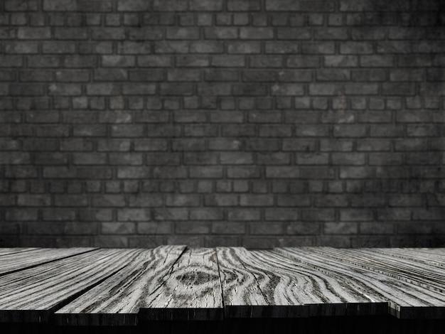 3d velha mesa rústica contra um fundo de parede de tijolo