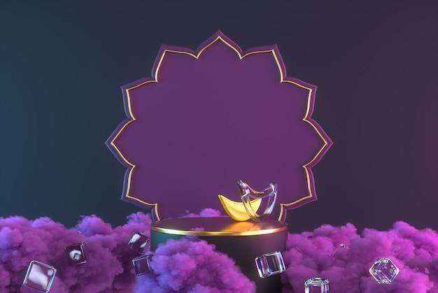 3diwali, cena do pódio do festival de luzes com 3d rangoli indiano, lâmpada de óleo diya decorativa brilhante e dourada, nuvens roxas. ilustração de renderização 3d.