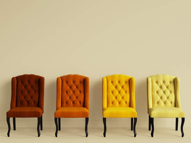 4 cadeiras em cores diferentes na sala amarela com espaço de cópia. renderização em 3d