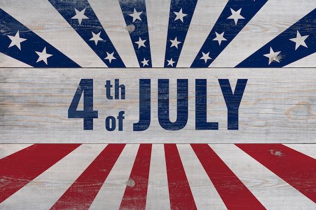 4 de julho, escrito em pranchas de madeira