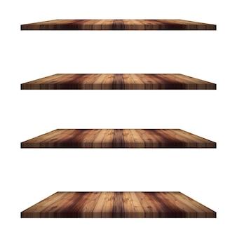 4 estantes de madeira mesa isolada, montagem de display para produto.