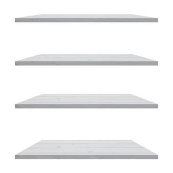 4 mesa de prateleiras de madeira isolada no fundo branco e montagem de exposição para o produto.