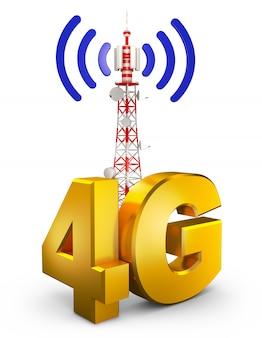 4g e uma torre de comunicações. renderização 3d.