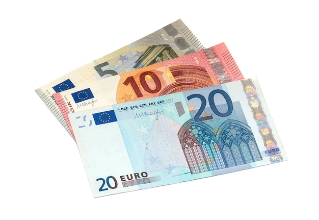 5, 10, 20 notas de euro isoladas
