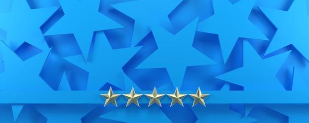 5 estrelas douradas em uma sala azul estrelada