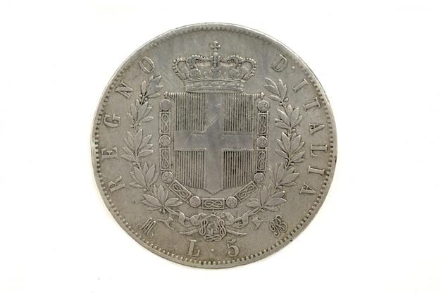 5 liras 1872, victorio emanuele ii, moeda italiana,