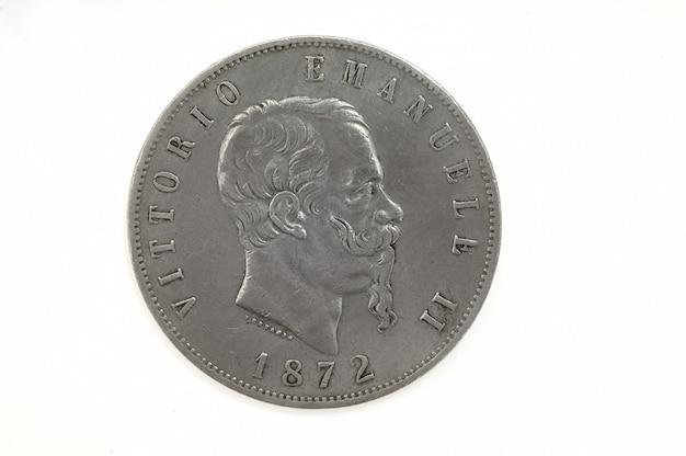 5 liras victorio emanuele ii, moeda italiana 1872