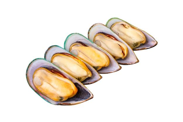 5 mexilhões da nova zelândia frescos descascados, dispostos isolados em um fundo branco. frutos do mar populares. grandes mexilhões da nova zelândia preparados para cozinhar.