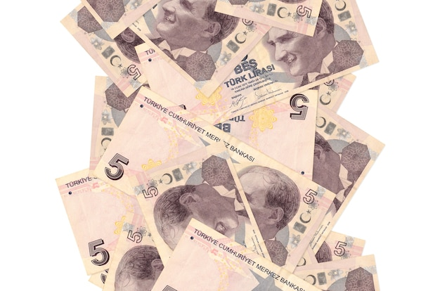 5 notas de liras turcas voando isoladas no branco