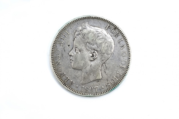 5 pesetas, un duro, alfonso xiii, prata