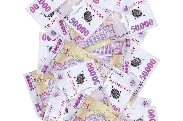 50.000 notas de leu romeno voando isoladas no branco