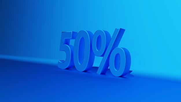 50% azul 50 por cento em uma ilustração de renderização 3d de fundo escuro