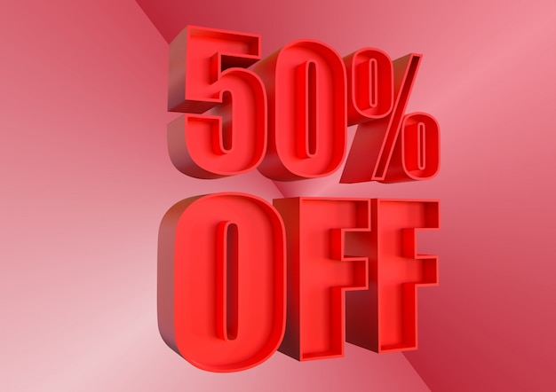50% de desconto, desconto banner promocional para aumento das vendas em lojas de varejo e tagged. renderização 3d