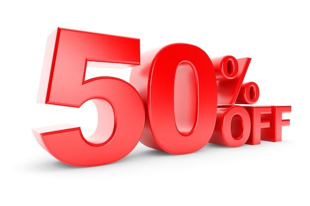 50% de desconto em um fundo branco