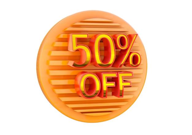 50% de desconto isolado na superfície branca, selo promocional para aplicação em banner, label e tag.