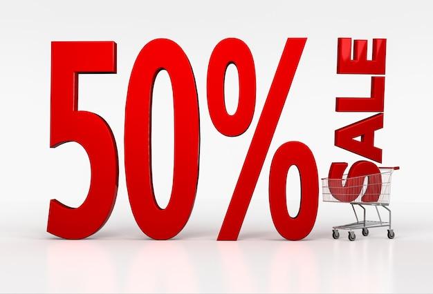 50% de desconto. letras vermelhas 3d no carrinho de compras. renderização 3d